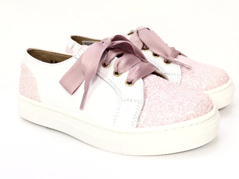 Clarys Pink and White Glitter Sneaker-Tassel Children Shoes