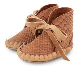 Donsje Cognac Snake Leather Bootie-Tassel Children Shoes