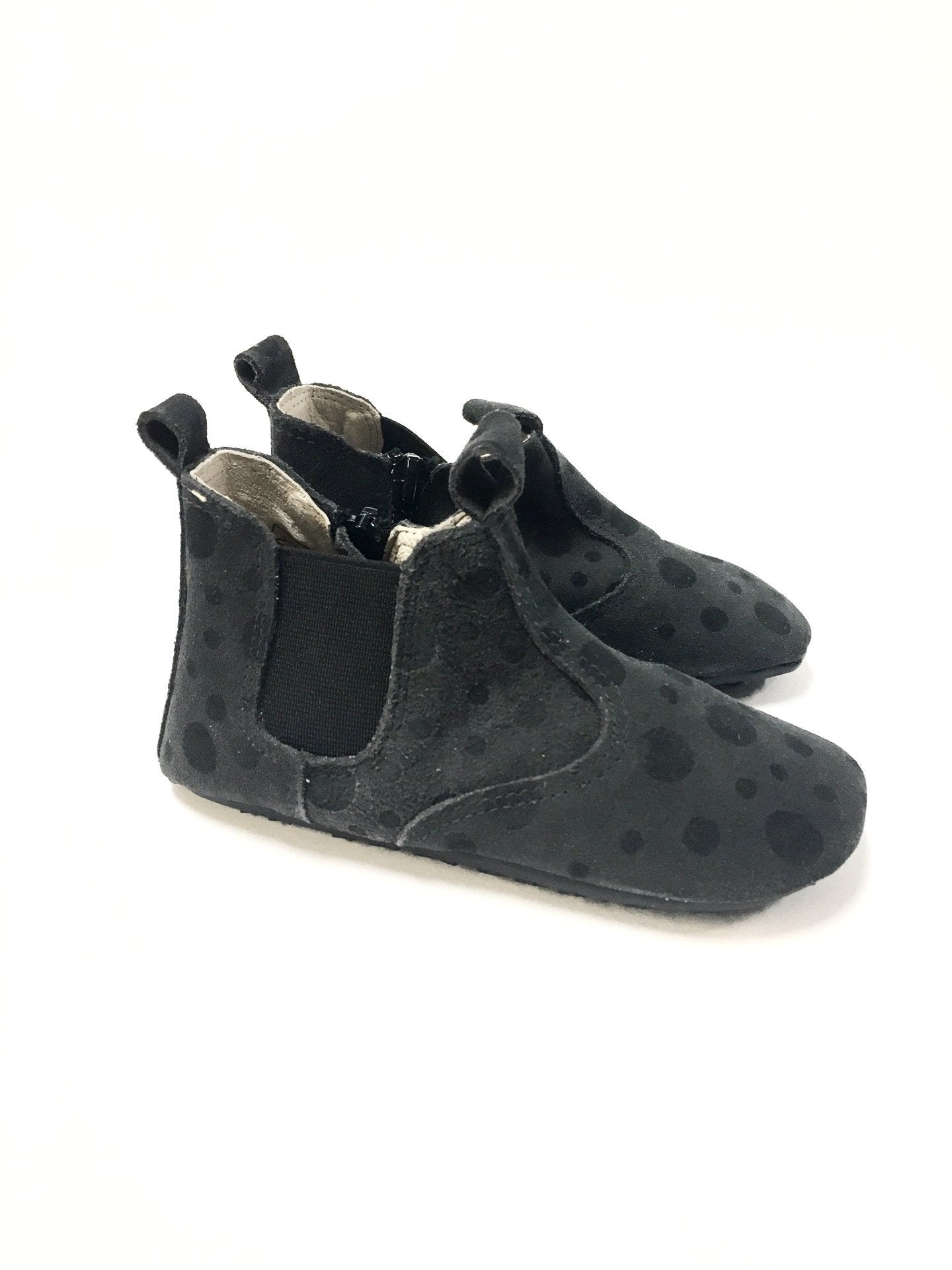 Enfant Gray and Black Slipper-Tassel Children Shoes