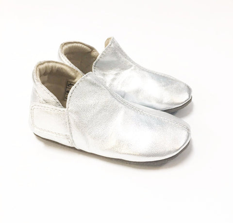 Enfant Silver Velcro Slipper-Tassel Children Shoes