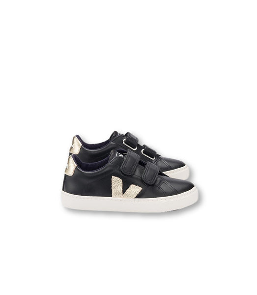 Veja Black and Gold Velcro Sneaker-Tassel Children Shoes