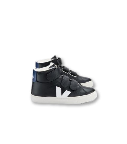 Veja Black Hightop Fur Lined Sneaker-Tassel Children Shoes