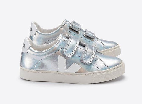 Veja Silver Velcro Sneaker-Tassel Children Shoes