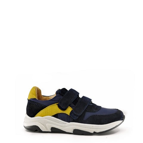 Acebos Navy and Yellow Velcro Grandpa Bottom Sneaker-Tassel Children Shoes