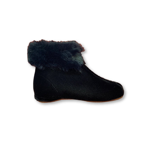 Pepe Black Velvet Fur Bootie-Tassel Children Shoes