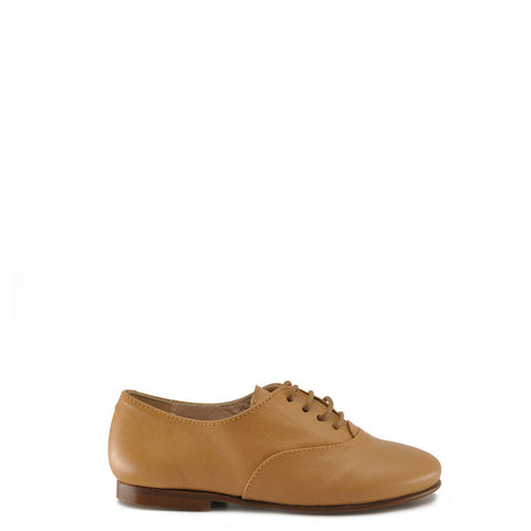 Beberlis Camel Textured Leather Derby-Tassel Children Shoes