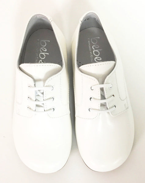 Beberlis White Leather Oxford-Tassel Children Shoes