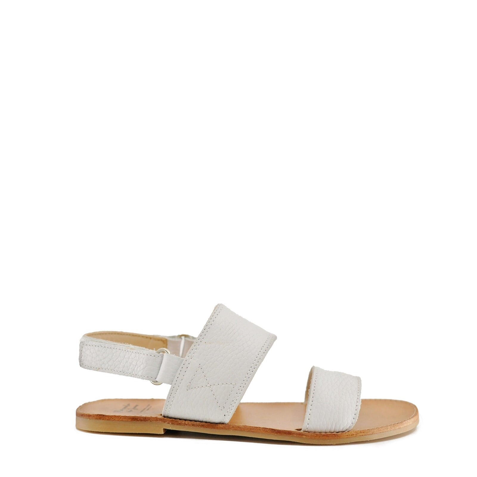 Manuela White Pebbled Sandal-Tassel Children Shoes
