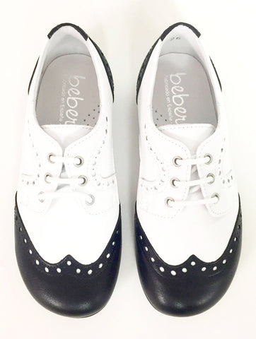Beberlis Black And White Oxford-Tassel Children Shoes