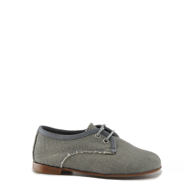 LMDI Collection Gray Linen Lace Derby-Tassel Children Shoes