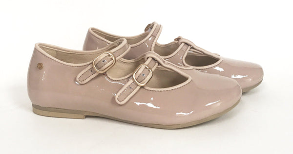 Manuela Nude Double Strap T-strap-Tassel Children Shoes