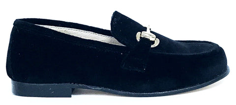 Hoo Black Velvet Chain Loafer-Tassel Children Shoes