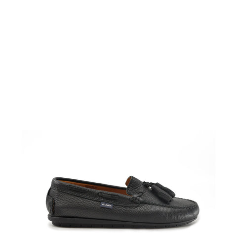 Atlanta Mocassin Black Pebbled Leather Tassel Loafer-Tassel Children Shoes