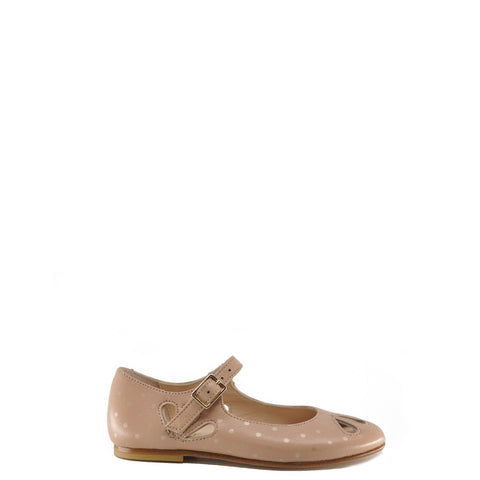 Eugens Rose Dotted Cut-Out Mary Jane-Tassel Children Shoes