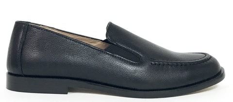 Hoo Black Leather Loafer-Tassel Children Shoes