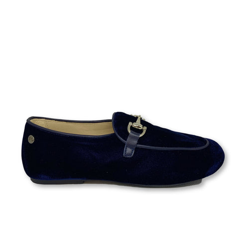 Manuela Navy Velvet Chain Loafer-Tassel Children Shoes