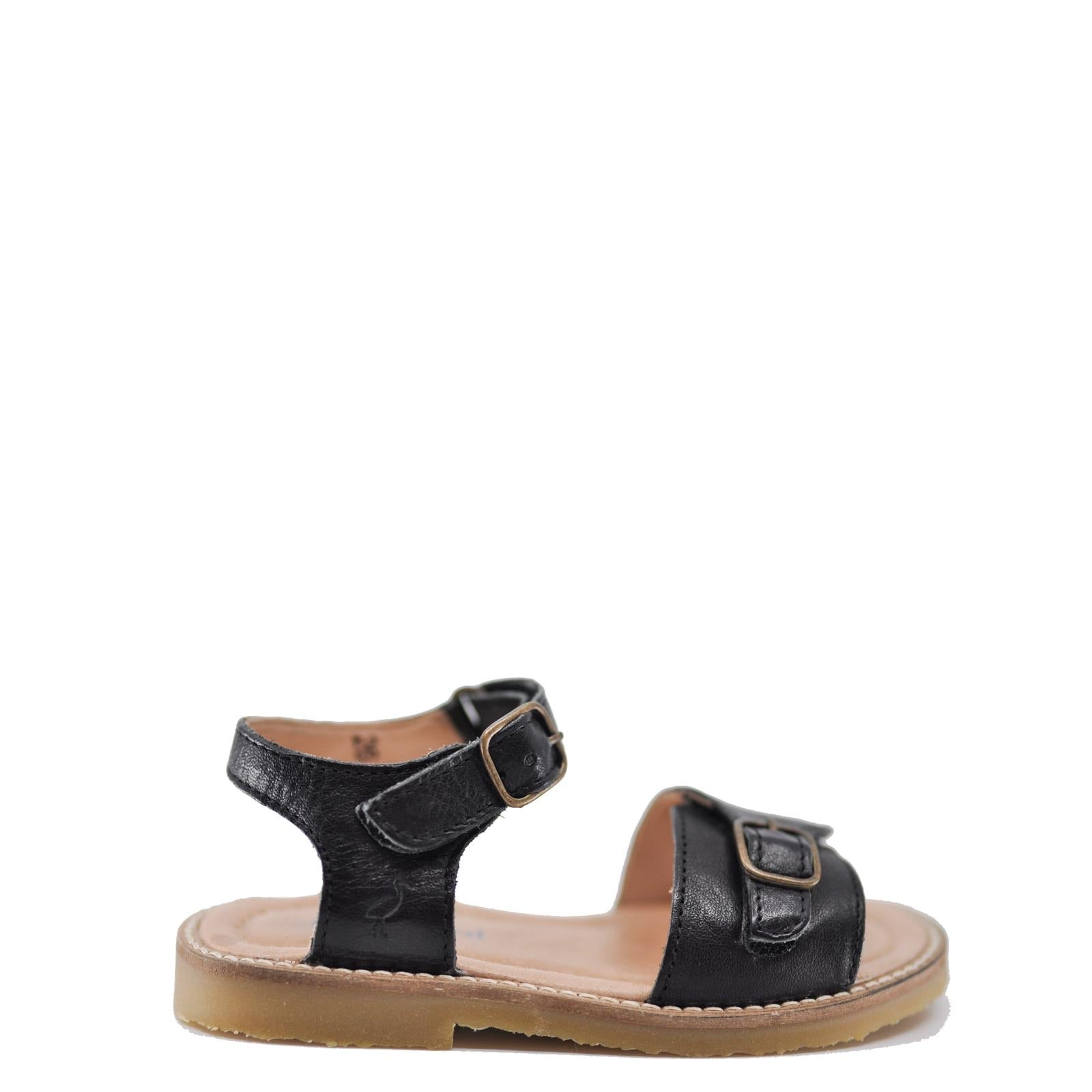 Petit Nord Black Velcro Sandal-Tassel Children Shoes