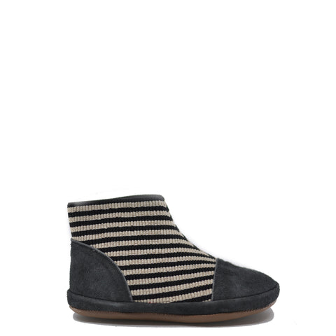 Pepe Gray Striped Elastic Bootie-Tassel Children Shoes
