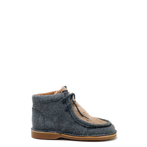 Papanatas Grey Wool and Fur Lace-Up Bootie-Tassel Children Shoes