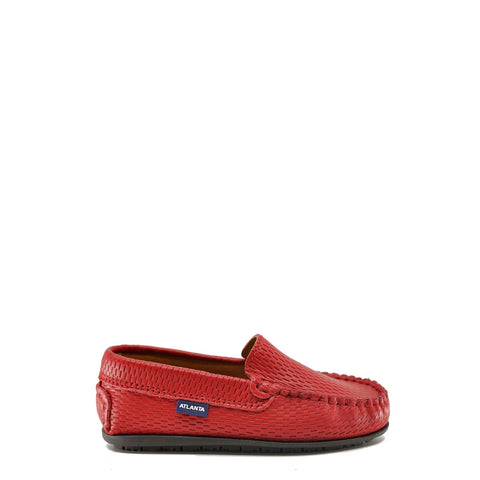Atlanta Mocassin Red Textured Loafer-Tassel Children Shoes