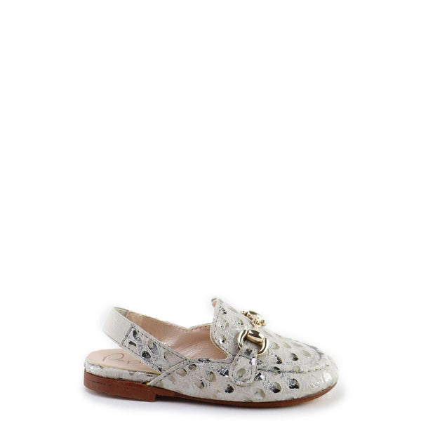 Papanatas Scalloped Metallic Mule-Tassel Children Shoes