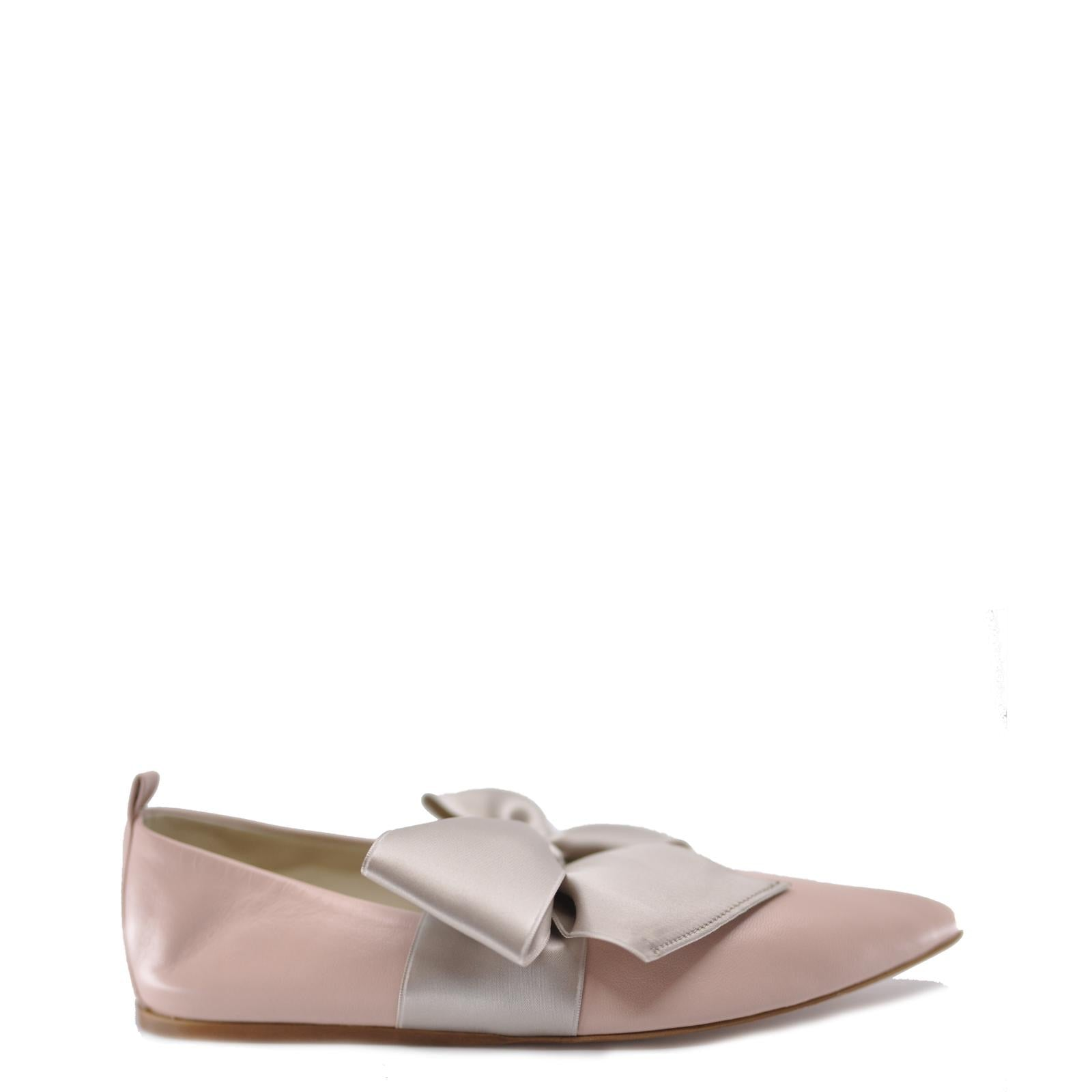 Dou Uod Pale Pink Bow Pointed Ballet Flat-Tassel Children Shoes