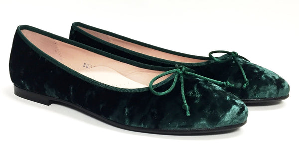 Beberlis Forest Green Velvet Ballet-Tassel Children Shoes