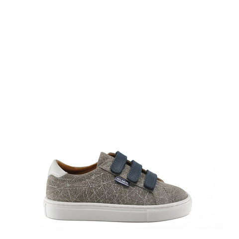 Atlanta Mocassin Taupe Textured Velcro Sneaker-Tassel Children Shoes