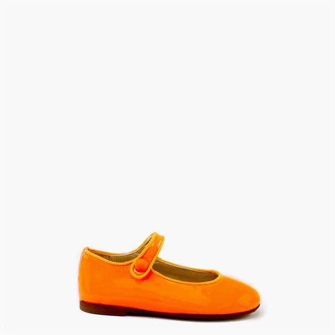 Papanatas Neon Orange Patent Mary Jane-Tassel Children Shoes