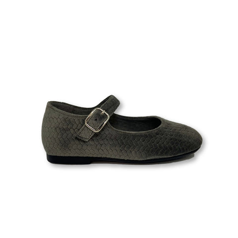 Blublonc Gray Textured Velvet Mary Jane-Tassel Children Shoes