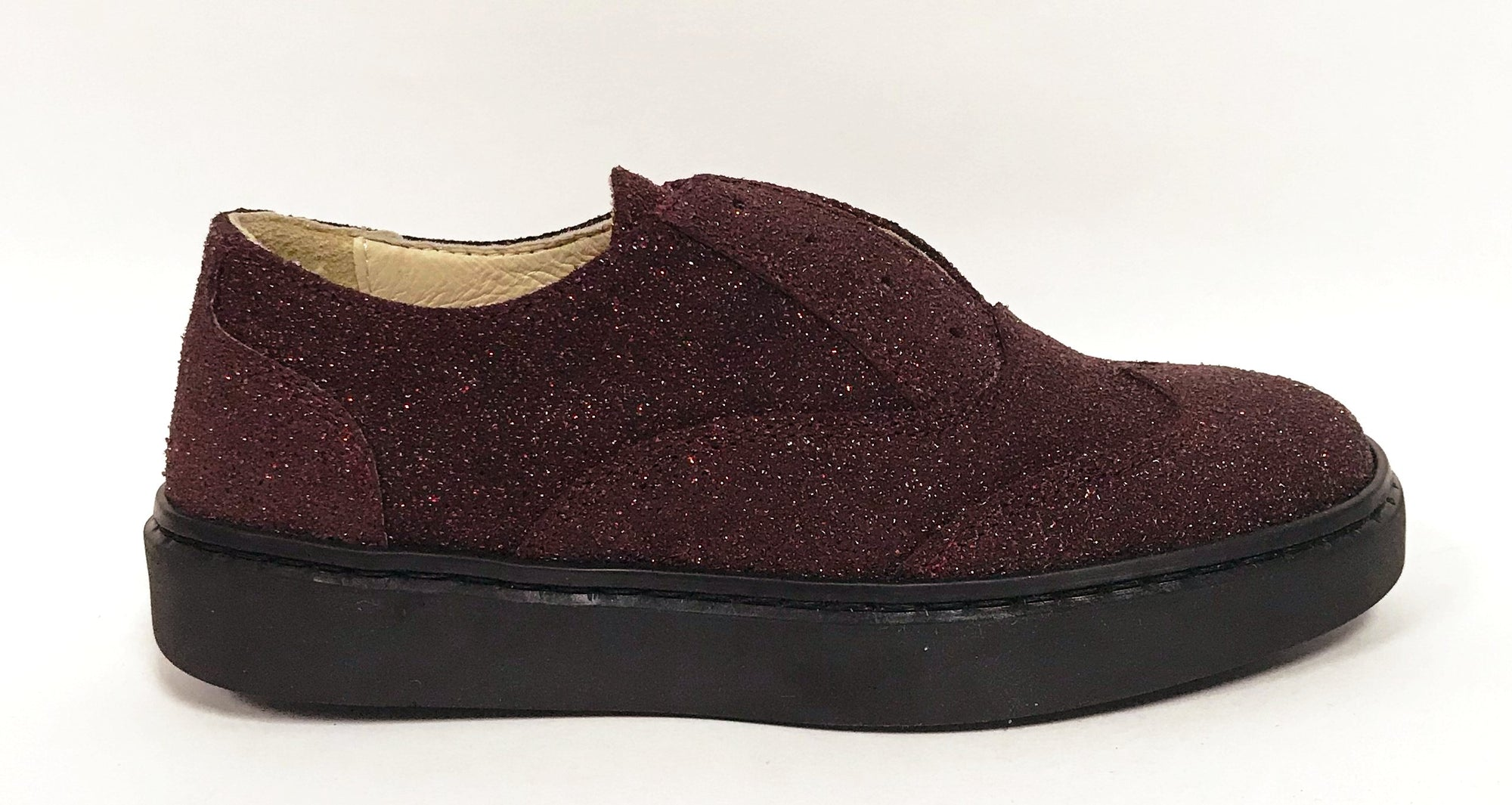 Zapeti Burgundy Glitter Slip-on Oxford-Tassel Children Shoes