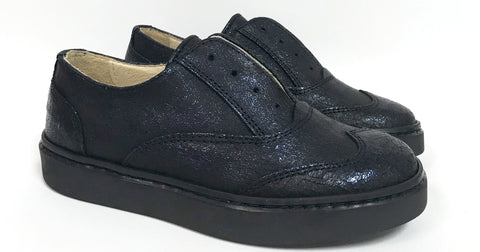 Zapeti Navy Shimmer Slip-on Oxford-Tassel Children Shoes