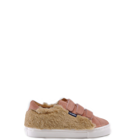 Atlanta Mocassin Rose and Fur Velcro Sneaker-Tassel Children Shoes