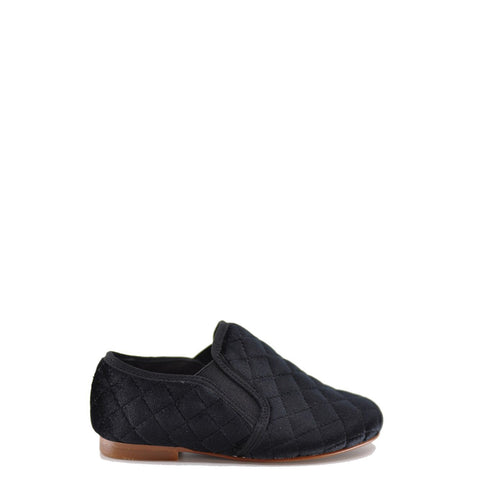 LMDI Quilted Black Velvet Slip-On Loafer-Tassel Children Shoes