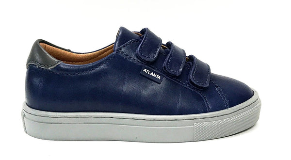 Atlanta Mocassin Navy/Gray Velcro Sneaker-Tassel Children Shoes