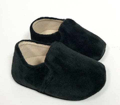 Zeebra Black Velvet Loafer (Soft Sole)-Tassel Children Shoes