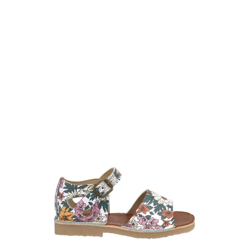 Young Soles Floral Print Buckle Sandal-Tassel Children Shoes