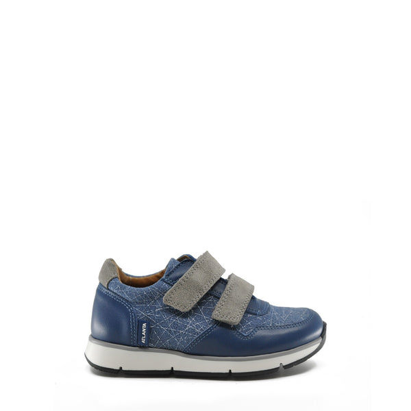 Atlanta Mocassin Blue Textured Velcro Sneaker-Tassel Children Shoes