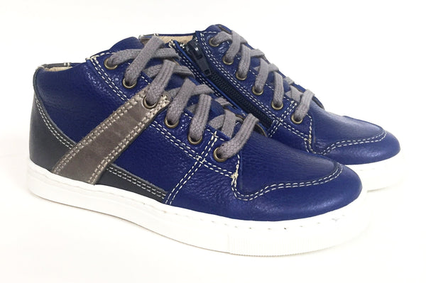 Blublonc Royal Blue/Gray High-top Sneaker-Tassel Children Shoes
