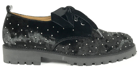 Beberlis Black Studded Oxford-Tassel Children Shoes