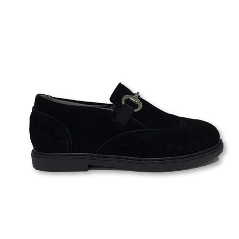 Blublonc Black Suede Chain Slip-on-Tassel Children Shoes