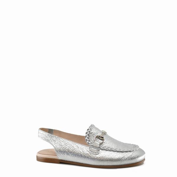 Beberlis Silver Crinkle Mule-Tassel Children Shoes