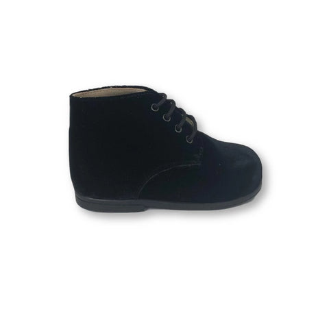 Beberlis Black Velvet Lace-Up Bootie-Tassel Children Shoes