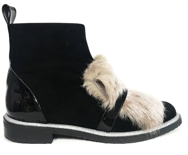 Marian Black and Gray Fur Bootie-Tassel Children Shoes