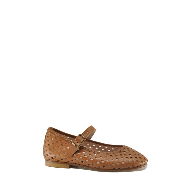 Eugens Perforated Luggage Mary Jane-Tassel Children Shoes
