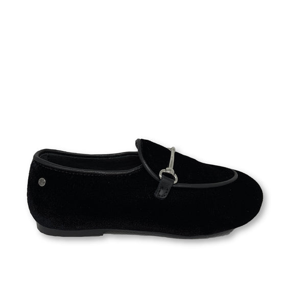 Manuela Black Velvet Chain Loafer-Tassel Children Shoes