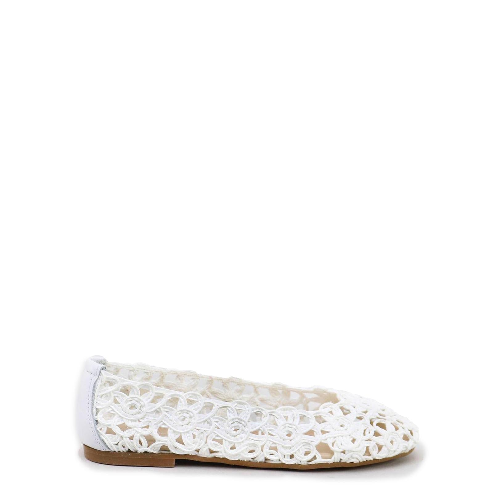 Papanatas White Floral Weave Ballet Flat-Tassel Children Shoes