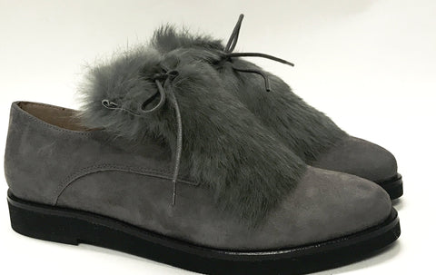 Marian Gray Suede Fur Oxford-Tassel Children Shoes
