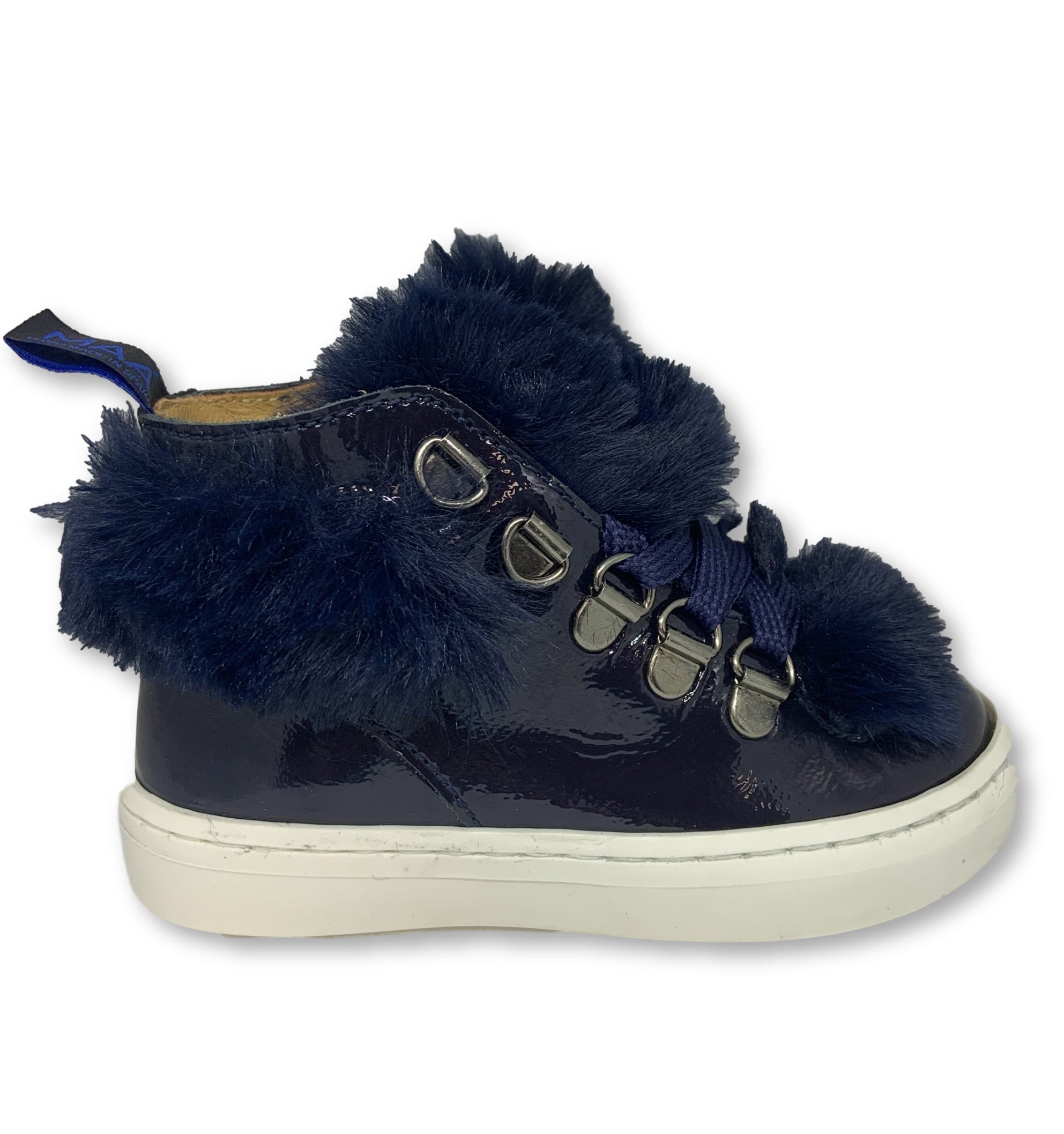 MAA Navy Patent Fur High Top Sneaker-Tassel Children Shoes