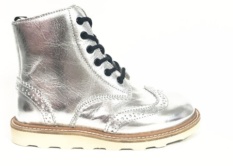Young Soles Sidney Silver Boot-Tassel Children Shoes